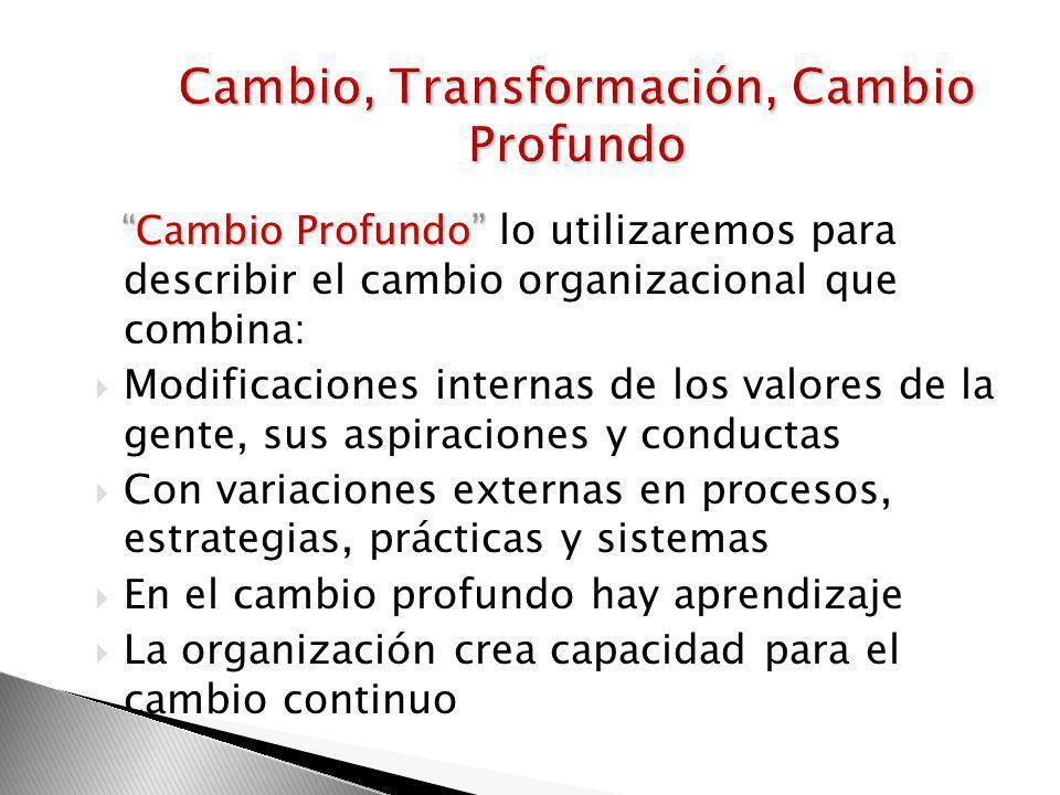 Transformación como término se utiliza: Para describir iniciativas comprensivas de cambio organizacional Nada cambia sin transformación personal (Edwa