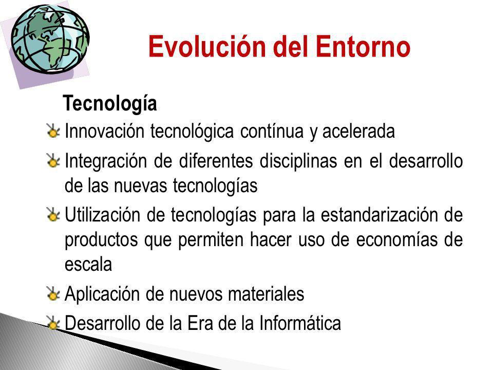 Evolución del Entorno Innovación tecnológica contínua y acelerada Integración de diferentes disciplinas en el desarrollo de las nuevas tecnologías Utilización de tecnologías para la estandarización de productos que permiten hacer uso de economías de escala Aplicación de nuevos materiales Desarrollo de la Era de la Informática Tecnología