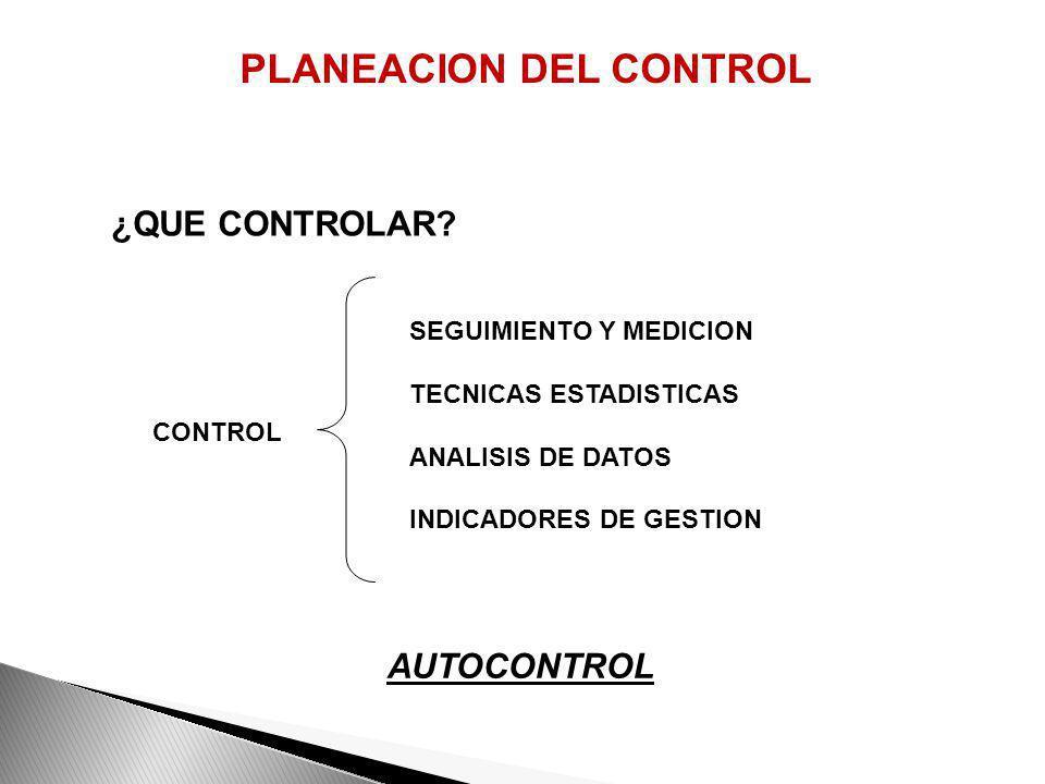 PLANEACION DEL CONTROL LO QUE NO SE MIDE NI SE CONTROLA NO SE MEJORA, SI EL CONTROL NO SIRVE PARA MEJORAR, MEJOR NO CONTROLE ¿PARA QUE CONTROLAR?