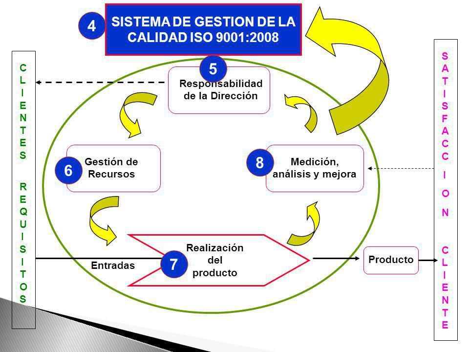 1.Enfoque al cliente. 2.Liderazgo 3.Participación del personal. 4.Enfoque basado en los procesos 5.Gestión basada en sistemas 6.Mejora continua 7.Toma