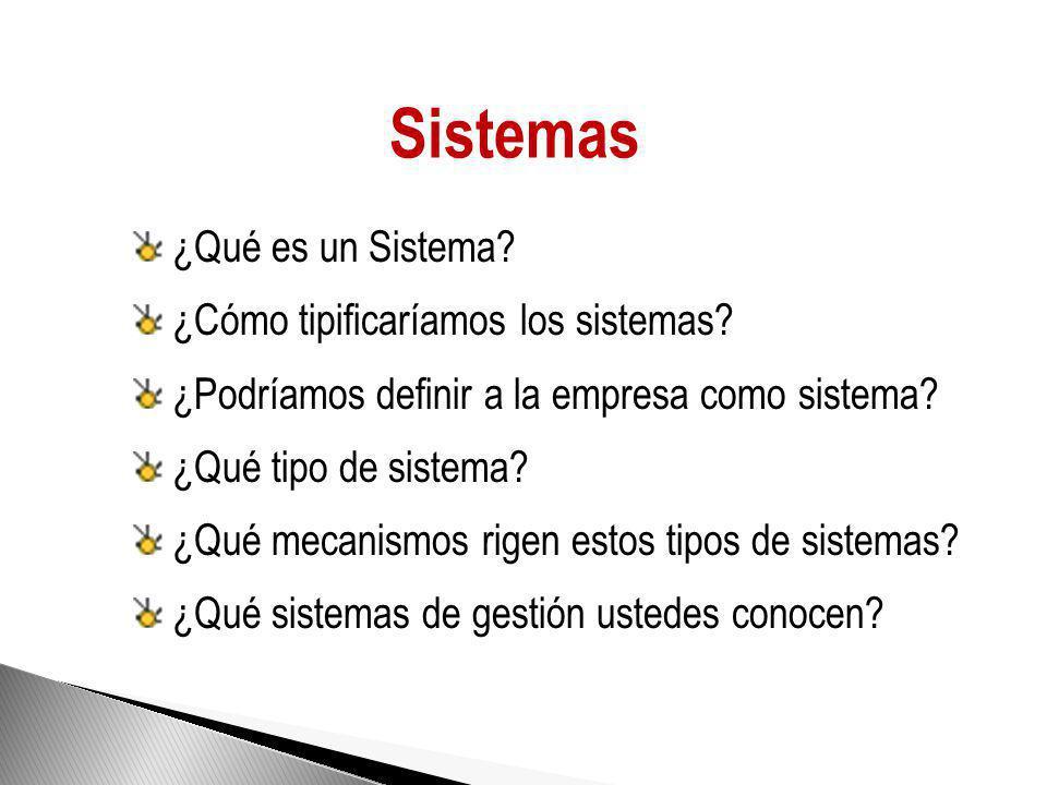 Sistemas ¿Qué es un Sistema.¿Cómo tipificaríamos los sistemas.