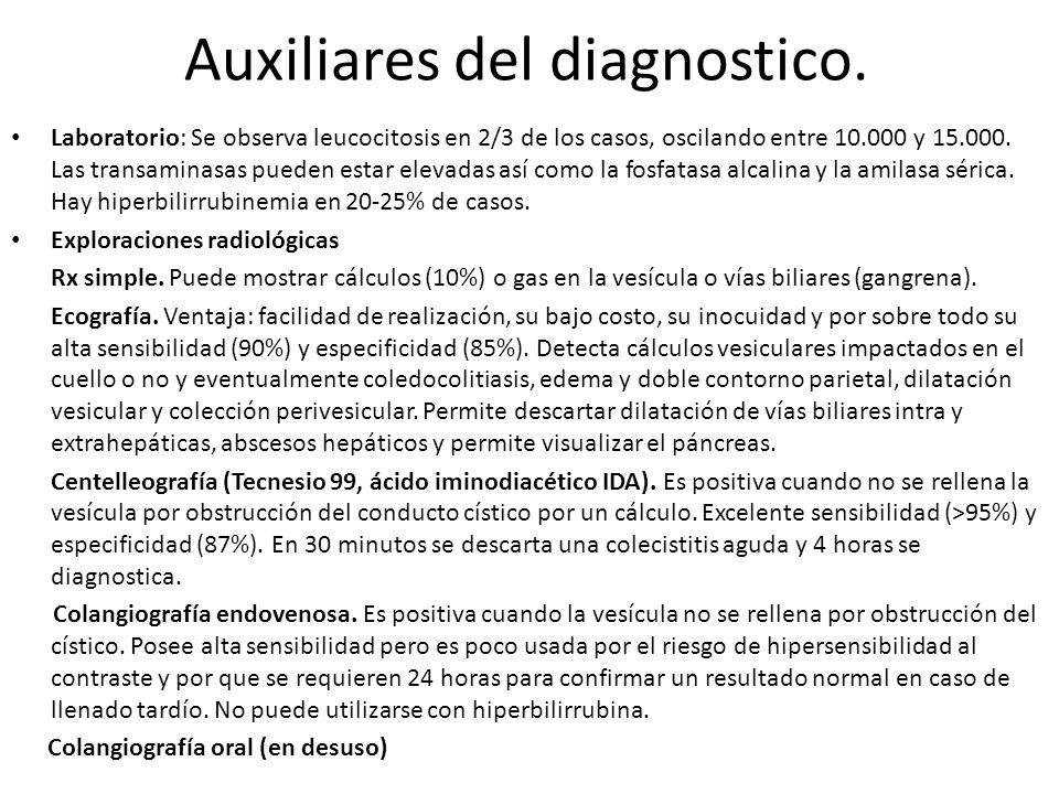 Auxiliares del diagnostico. Laboratorio: Se observa leucocitosis en 2/3 de los casos, oscilando entre 10.000 y 15.000. Las transaminasas pueden estar