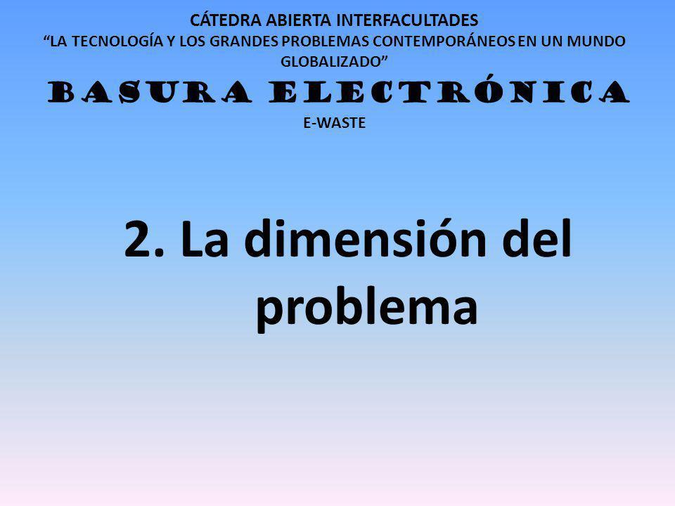 CÁTEDRA ABIERTA INTERFACULTADES LA TECNOLOGÍA Y LOS GRANDES PROBLEMAS CONTEMPORÁNEOS EN UN MUNDO GLOBALIZADO BASURA ELECTRÓNICA E-WASTE 2. La dimensió