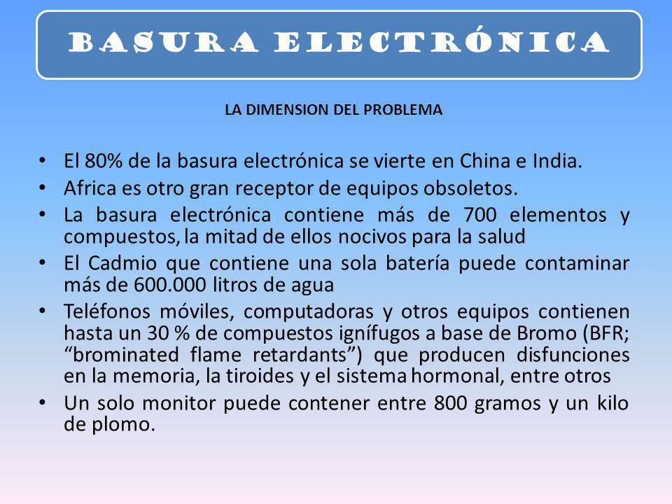 LA DIMENSION DEL PROBLEMA El 80% de la basura electrónica se vierte en China e India. Africa es otro gran receptor de equipos obsoletos. La basura ele