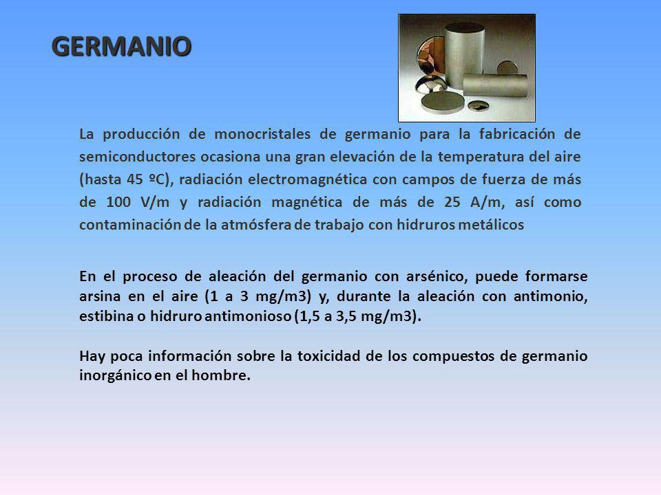GERMANIO La producción de monocristales de germanio para la fabricación de semiconductores ocasiona una gran elevación de la temperatura del aire (hasta 45 ºC), radiación electromagnética con campos de fuerza de más de 100 V/m y radiación magnética de más de 25 A/m, así como contaminación de la atmósfera de trabajo con hidruros metálicos En el proceso de aleación del germanio con arsénico, puede formarse arsina en el aire (1 a 3 mg/m3) y, durante la aleación con antimonio, estibina o hidruro antimonioso (1,5 a 3,5 mg/m3).