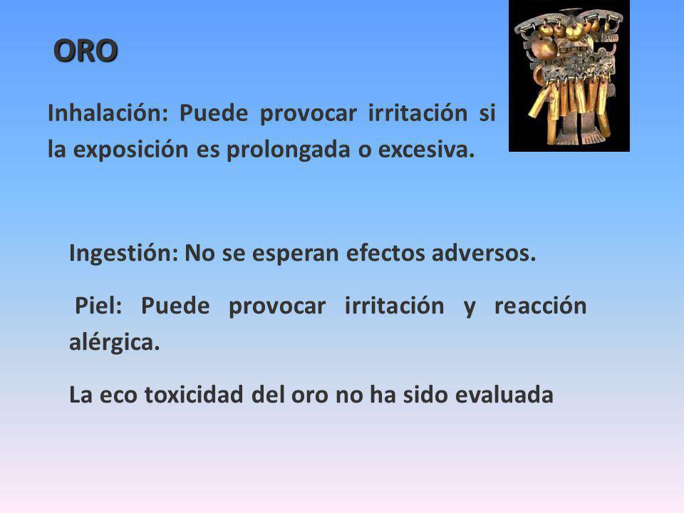 ORO Inhalación: Puede provocar irritación si la exposición es prolongada o excesiva. Ingestión: No se esperan efectos adversos. Piel: Puede provocar i