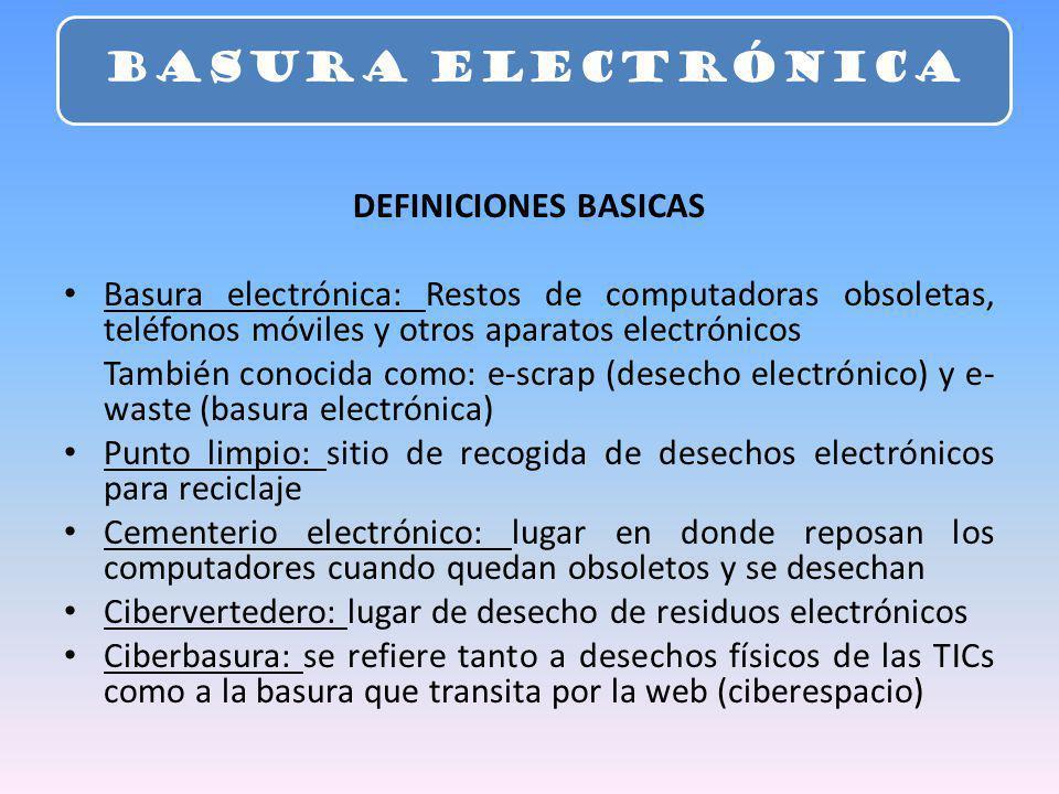 DEFINICIONES BASICAS Basura electrónica: Restos de computadoras obsoletas, teléfonos móviles y otros aparatos electrónicos También conocida como: e-sc
