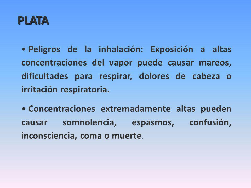 Peligros de la inhalación: Exposición a altas concentraciones del vapor puede causar mareos, dificultades para respirar, dolores de cabeza o irritació