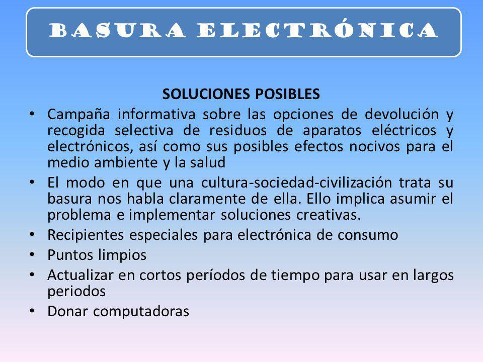 SOLUCIONES POSIBLES Campaña informativa sobre las opciones de devolución y recogida selectiva de residuos de aparatos eléctricos y electrónicos, así c