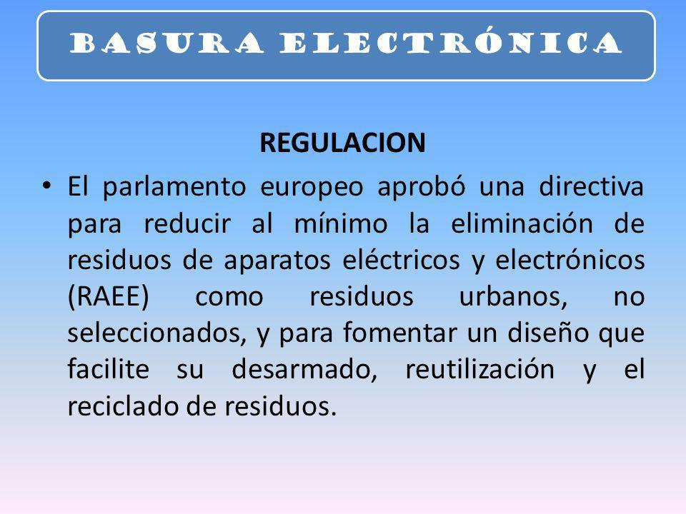 REGULACION El parlamento europeo aprobó una directiva para reducir al mínimo la eliminación de residuos de aparatos eléctricos y electrónicos (RAEE) c