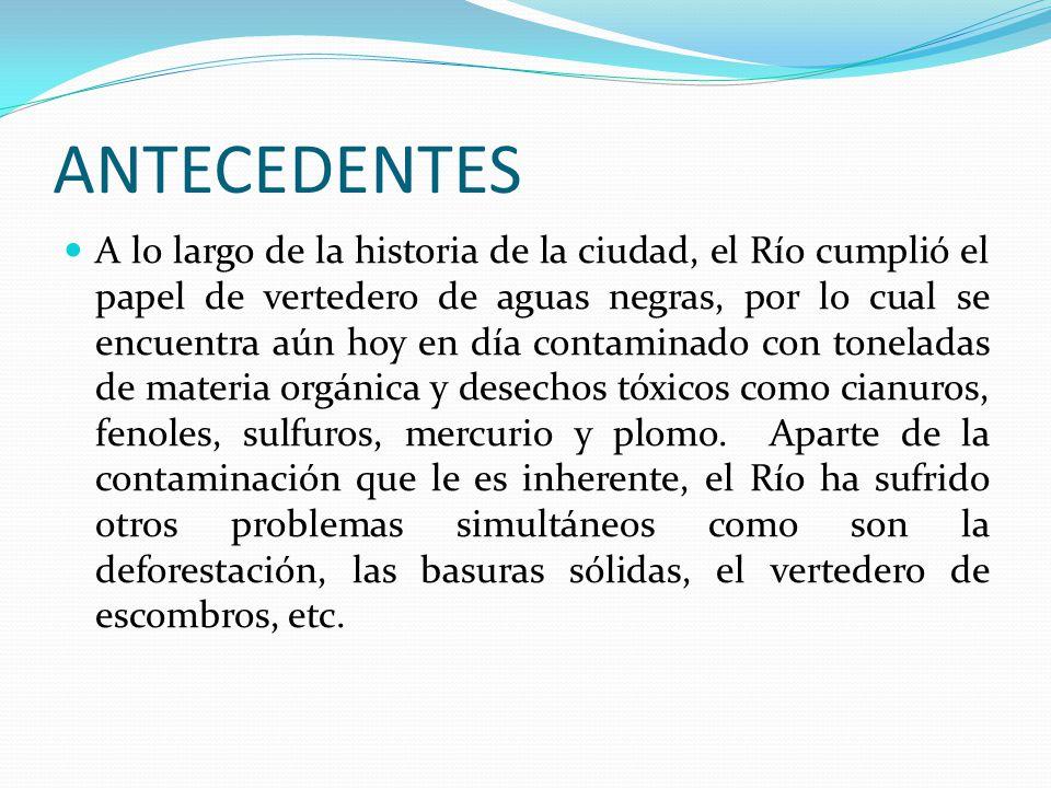 ANTECEDENTES A lo largo de la historia de la ciudad, el Río cumplió el papel de vertedero de aguas negras, por lo cual se encuentra aún hoy en día con