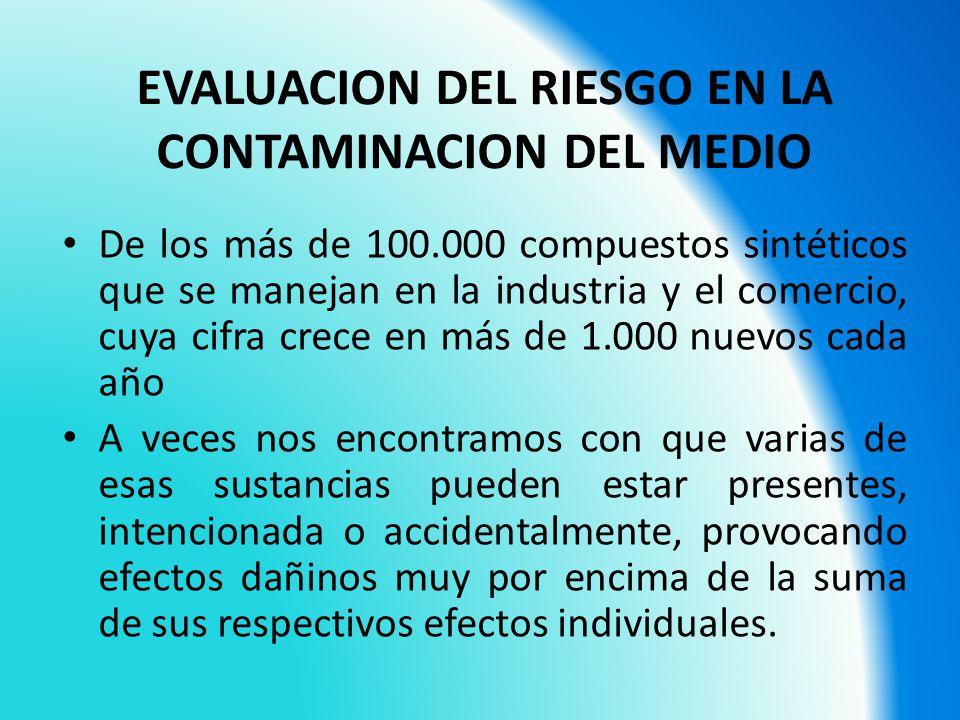EVALUACION DEL RIESGO EN LA CONTAMINACION DEL MEDIO De los más de 100.000 compuestos sintéticos que se manejan en la industria y el comercio, cuya cif