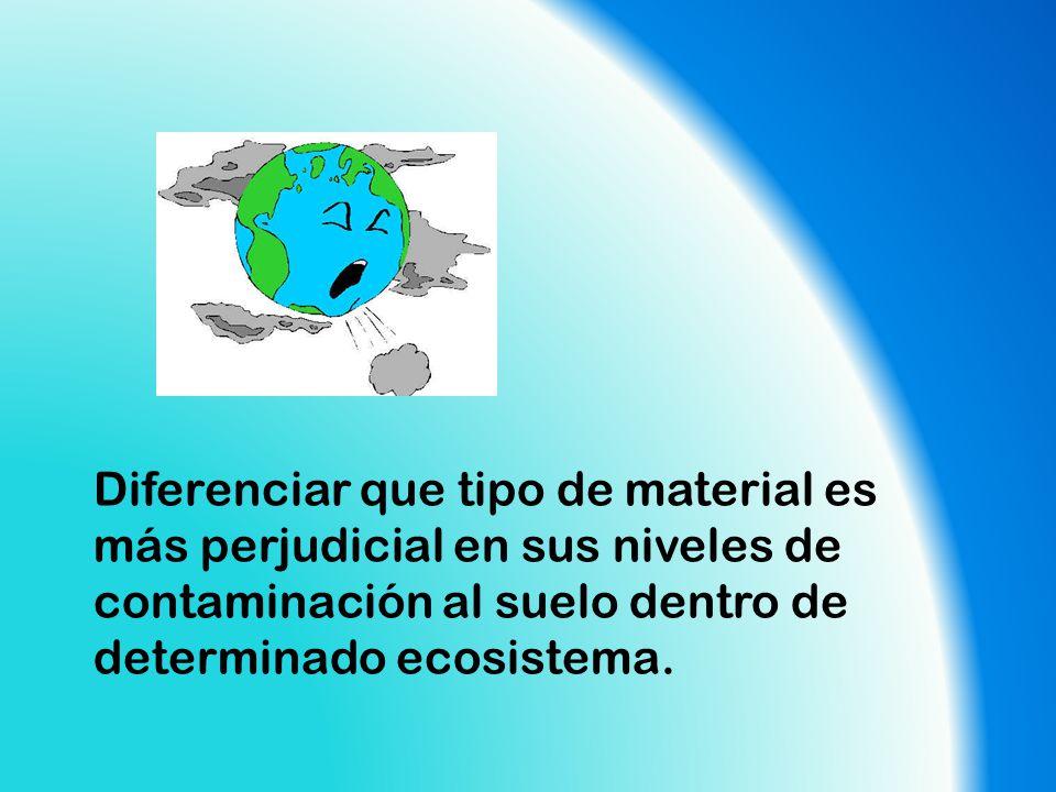 Diferenciar que tipo de material es más perjudicial en sus niveles de contaminación al suelo dentro de determinado ecosistema.