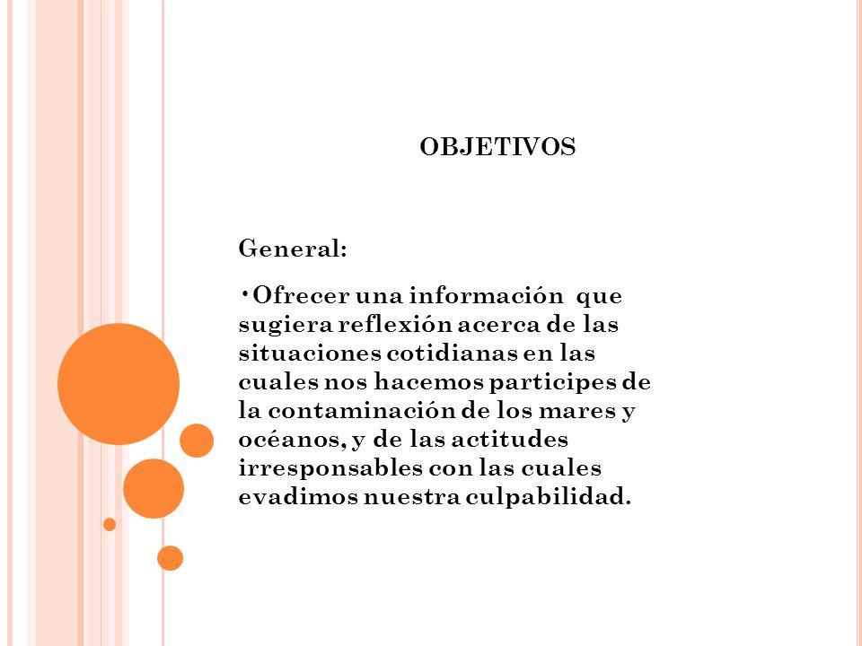 OBJETIVOS General: Ofrecer una información que sugiera reflexión acerca de las situaciones cotidianas en las cuales nos hacemos participes de la conta