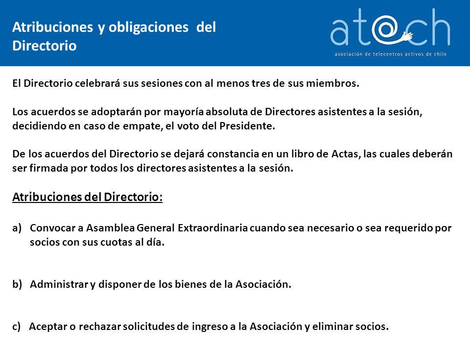 Obligaciones del Directorio: a)Definir y ejecutar los objetivos de la Asociación.