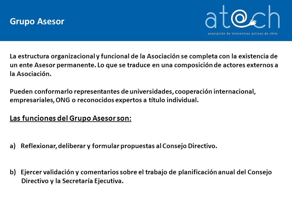 Grupo Asesor La estructura organizacional y funcional de la Asociación se completa con la existencia de un ente Asesor permanente.