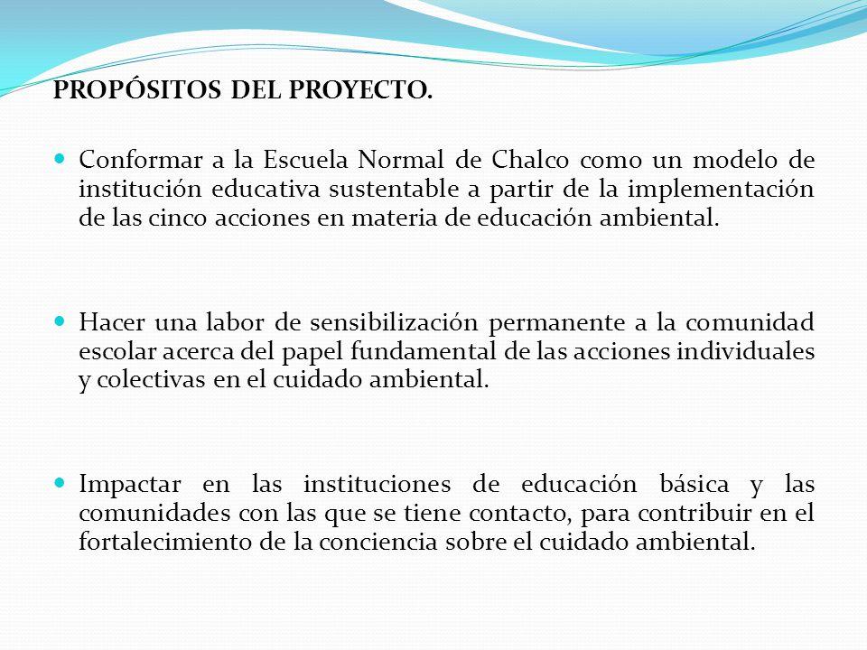 PROPÓSITOS DEL PROYECTO. Conformar a la Escuela Normal de Chalco como un modelo de institución educativa sustentable a partir de la implementación de