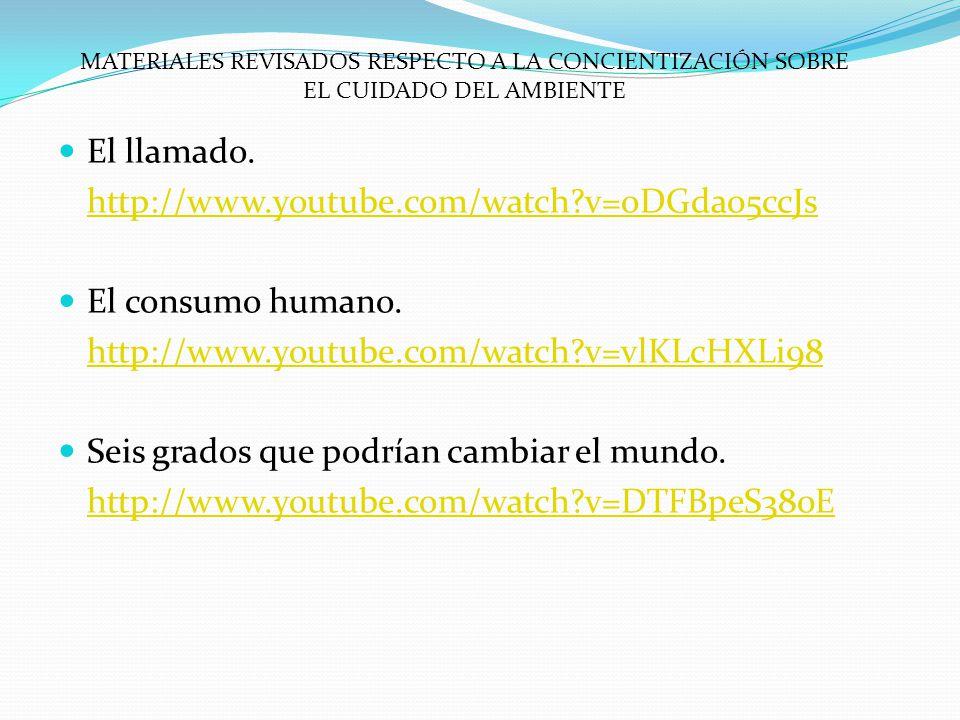 El llamado. http://www.youtube.com/watch?v=oDGda05ccJs El consumo humano. http://www.youtube.com/watch?v=vlKLcHXLi98 Seis grados que podrían cambiar e