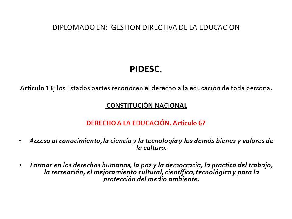PIDESC. Articulo 13; los Estados partes reconocen el derecho a la educación de toda persona. CONSTITUCIÓN NACIONAL DERECHO A LA EDUCACIÓN. Articulo 67