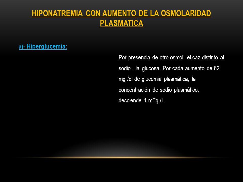 HIPONATREMIA CON OSMOLARIDAD PLASMATICA NORMAL a)- Hiperlipidemia o hiperproteinemia severa: Se reduce la cantidad de agua por unidad de volumen de plasma.