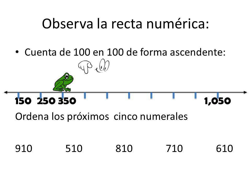 Observa la recta numérica: Cuenta de 100 en 100 de forma ascendente: 150 250 350 1,050 Ordena los próximos cinco numerales 910510810710610