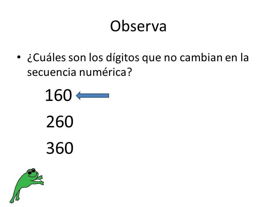 Observa ¿Cuáles son los dígitos que no cambian en la secuencia numérica? 160 260 360