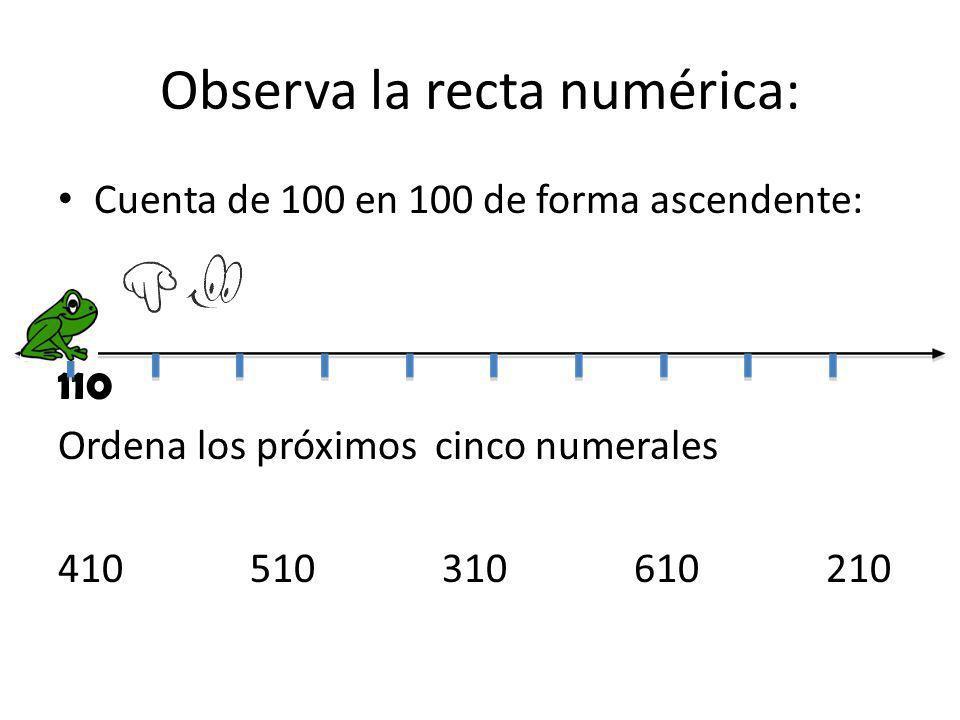 Observa la recta numérica: Cuenta de 100 en 100 de forma ascendente: 110 Ordena los próximos cinco numerales 410510310610210