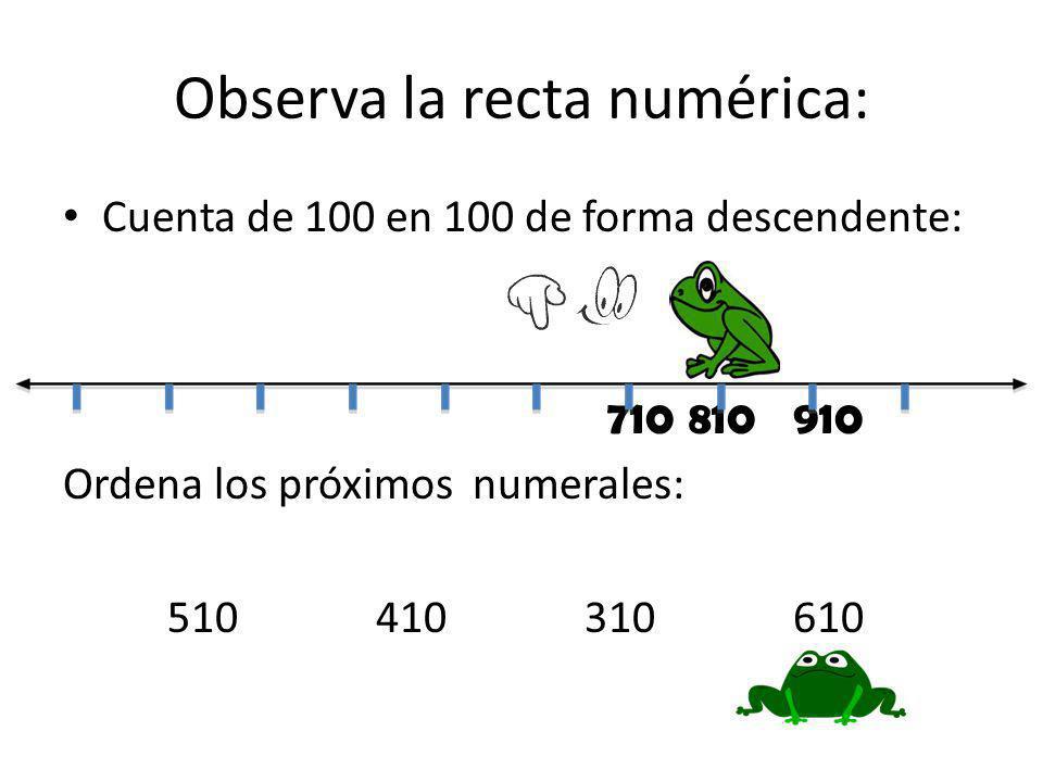 Observa la recta numérica: Cuenta de 100 en 100 de forma descendente: 710810910 Ordena los próximos numerales: 510410310610