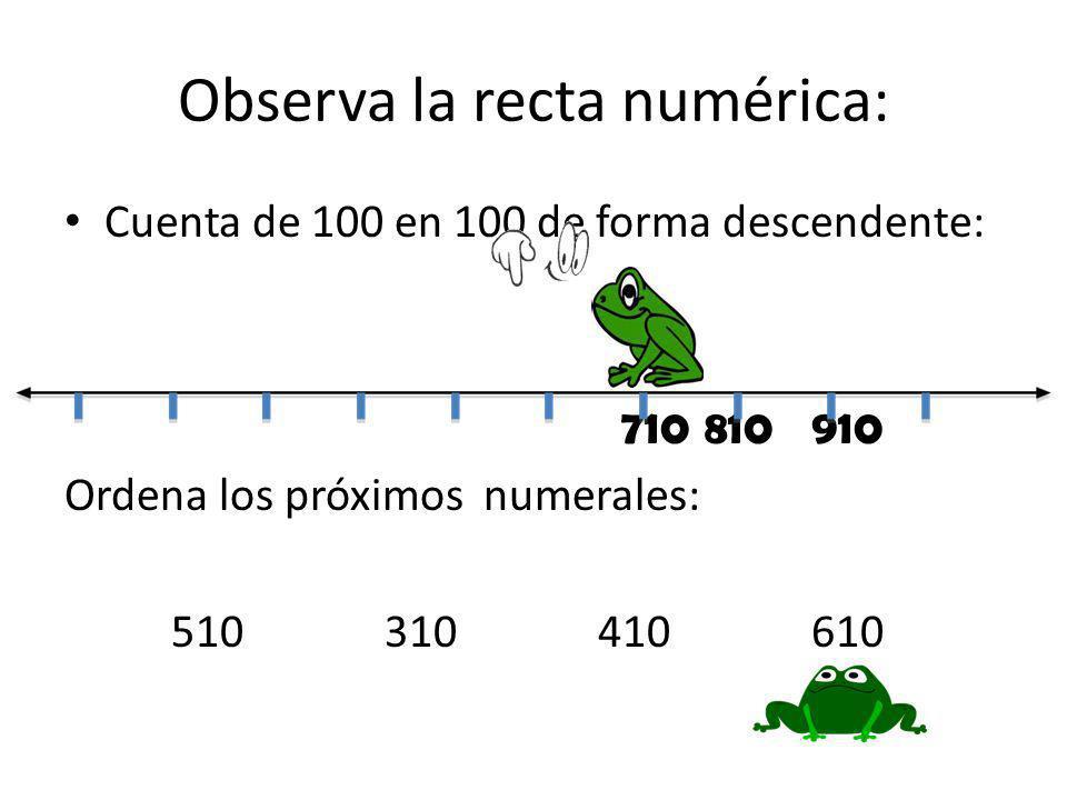 Observa la recta numérica: Cuenta de 100 en 100 de forma descendente: 710810910 Ordena los próximos numerales: 510310410610