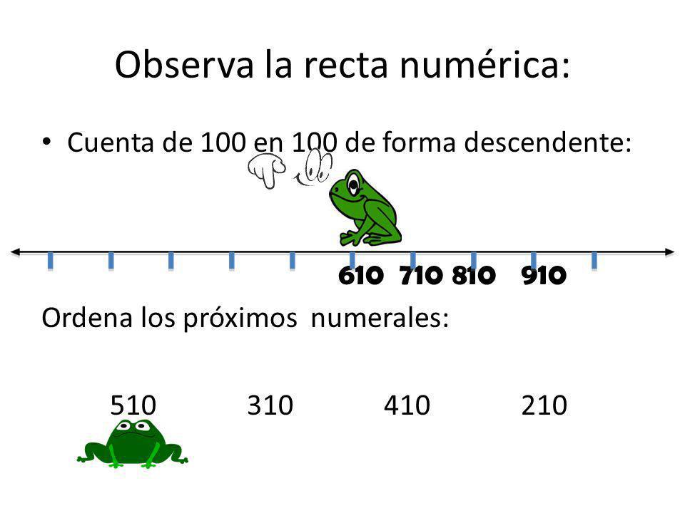 Observa la recta numérica: Cuenta de 100 en 100 de forma descendente: 610 710810910 Ordena los próximos numerales: 510310410210