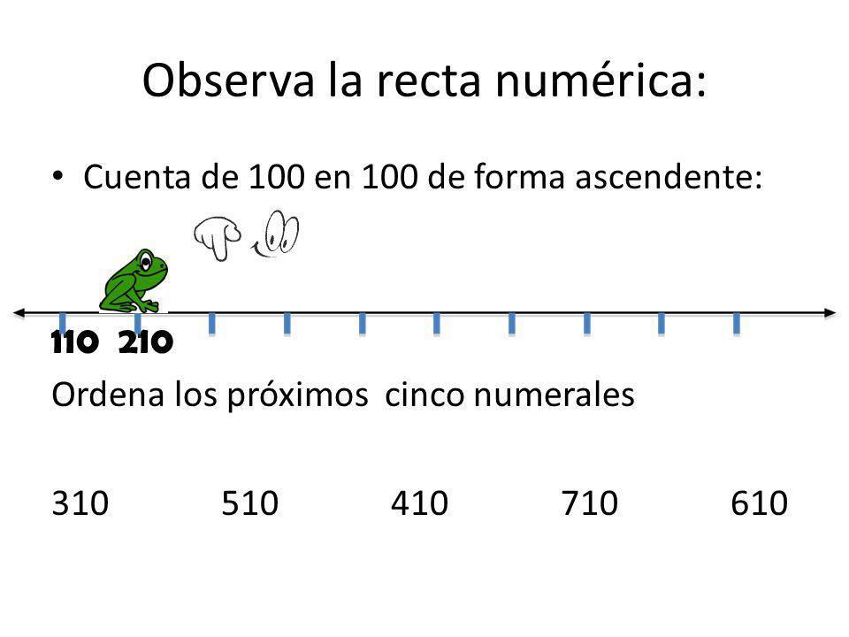 Observa la recta numérica: Cuenta de 100 en 100 de forma ascendente: 110 210 Ordena los próximos cinco numerales 310510410710610