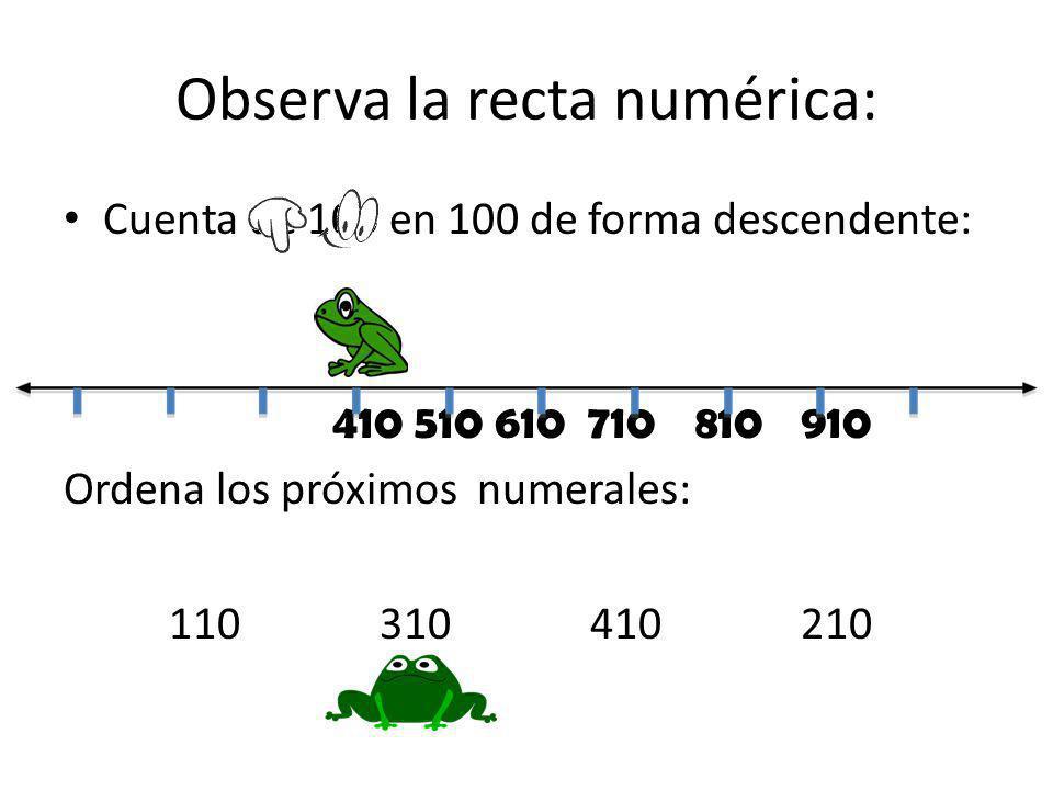 Observa la recta numérica: Cuenta de 100 en 100 de forma descendente: 410 510 610 710810910 Ordena los próximos numerales: 110310410210