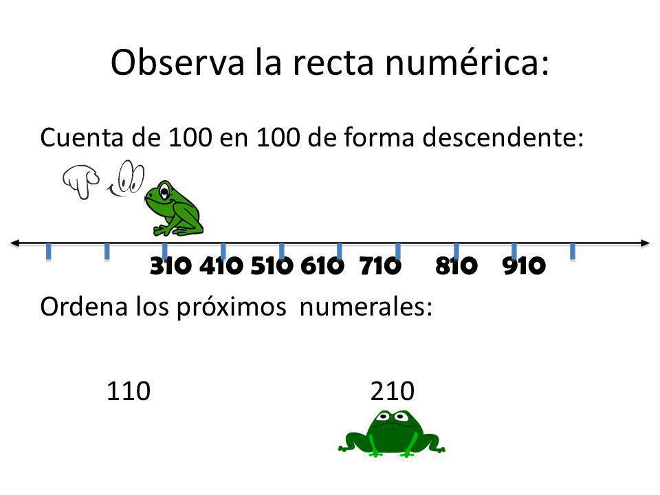 Observa la recta numérica: Cuenta de 100 en 100 de forma descendente: 310 410 510 610 710810910 Ordena los próximos numerales: 110210