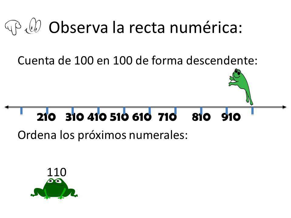 Observa la recta numérica: Cuenta de 100 en 100 de forma descendente: 210 310 410 510 610 710810910 Ordena los próximos numerales: 110