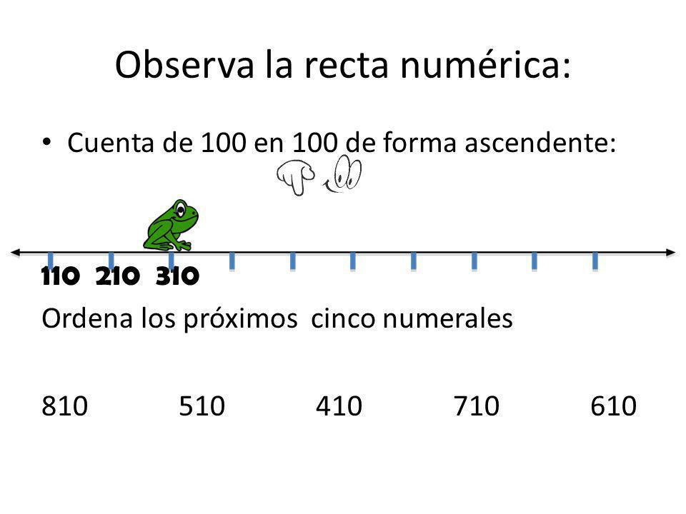 Observa la recta numérica: Cuenta de 100 en 100 de forma ascendente: 110 210 310 Ordena los próximos cinco numerales 810510410710610