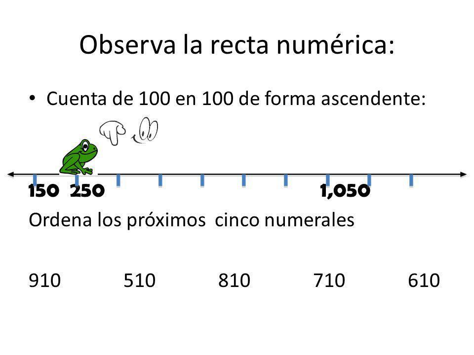 Observa la recta numérica: Cuenta de 100 en 100 de forma ascendente: 150 250 1,050 Ordena los próximos cinco numerales 910510810710610