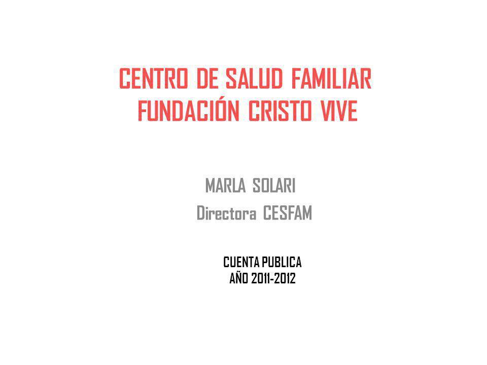 CENTRO DE SALUD FAMILIAR FUNDACIÓN CRISTO VIVE MARLA SOLARI Directora CESFAM CUENTA PUBLICA AÑO 2011-2012