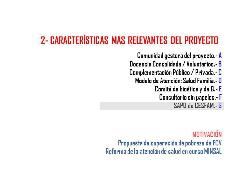 Comunidad gestora del proyecto.- A Docencia Consolidada / Voluntarios.- B Complementación Público / Privada.- C Modelo de Atención: Salud Familia.- D