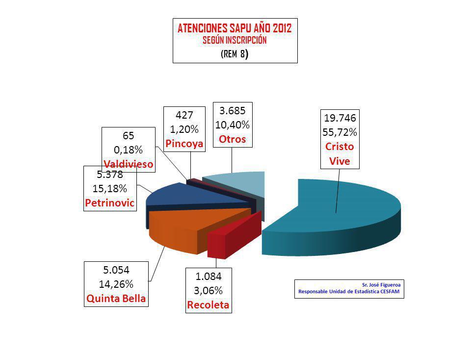 ATENCIONES SAPU AÑO 2012 SEGÚN INSCRIPCIÓN (REM 8 )