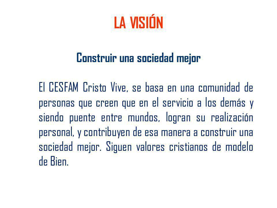 Construir una sociedad mejor El CESFAM Cristo Vive, se basa en una comunidad de personas que creen que en el servicio a los demás y siendo puente entr