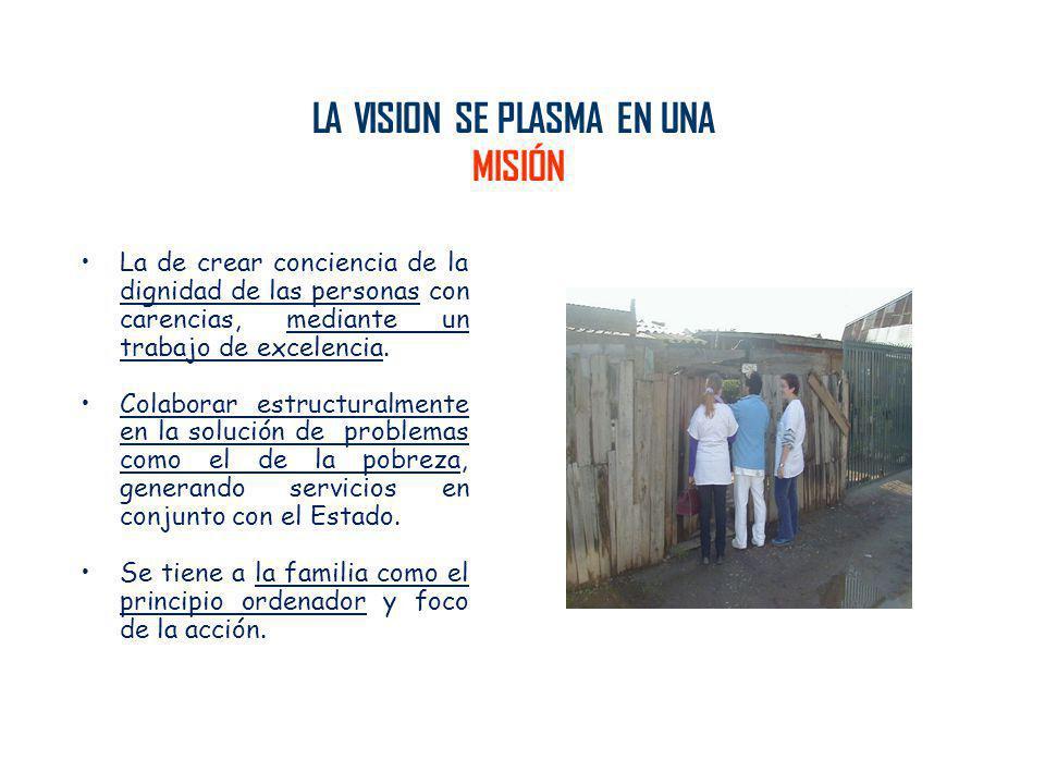 LA VISION SE PLASMA EN UNA MISIÓN La de crear conciencia de la dignidad de las personas con carencias, mediante un trabajo de excelencia. Colaborar es