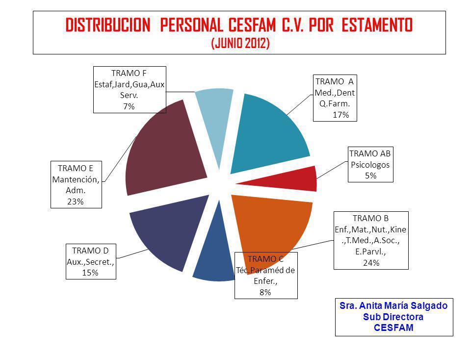 Sra. Anita María Salgado Sub Directora CESFAM DISTRIBUCION PERSONAL CESFAM C.V. POR ESTAMENTO (JUNIO 2012)