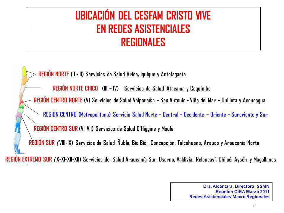 UBICACIÓN DEL CESFAM CRISTO VIVE EN REDES ASISTENCIALES REGIONALES 6 REGIÓN NORTE ( I - II) Servicios de Salud Arica, Iquique y Antofagasta REGIÓN CEN