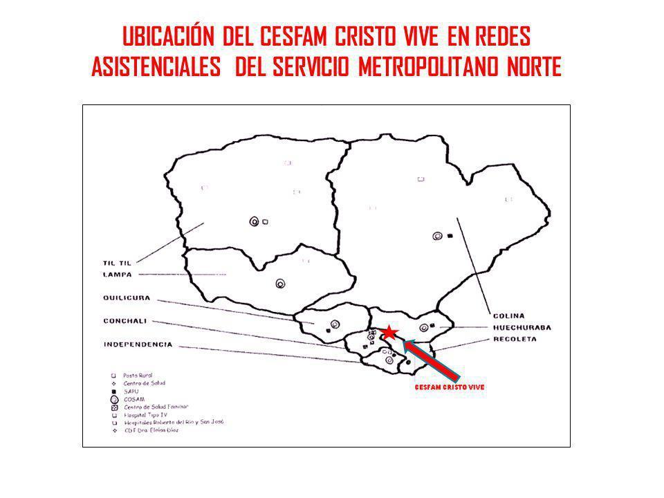 UBICACIÓN DEL CESFAM CRISTO VIVE EN REDES ASISTENCIALES DEL SERVICIO METROPOLITANO NORTE