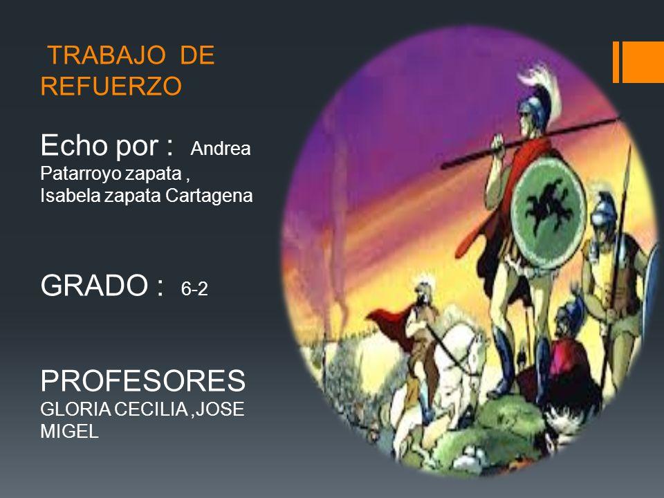 TRABAJO DE REFUERZO Echo por : Andrea Patarroyo zapata, Isabela zapata Cartagena GRADO : 6-2 PROFESORES GLORIA CECILIA,JOSE MIGEL