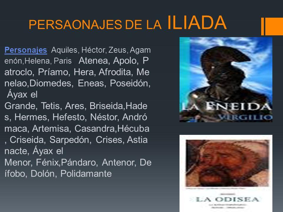 PERSAONAJES DE LA ILIADA PersonajesPersonajes: Aquiles, Héctor, Zeus, Agam enón,Helena, Paris, Atenea, Apolo, P atroclo, Príamo, Hera, Afrodita, Me ne