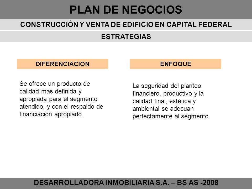 PLAN DE NEGOCIOS DESARROLLADORA INMOBILIARIA S.A. – BS AS -2008 ESTRATEGIAS DIFERENCIACIONENFOQUE Se ofrece un producto de calidad mas definida y apro