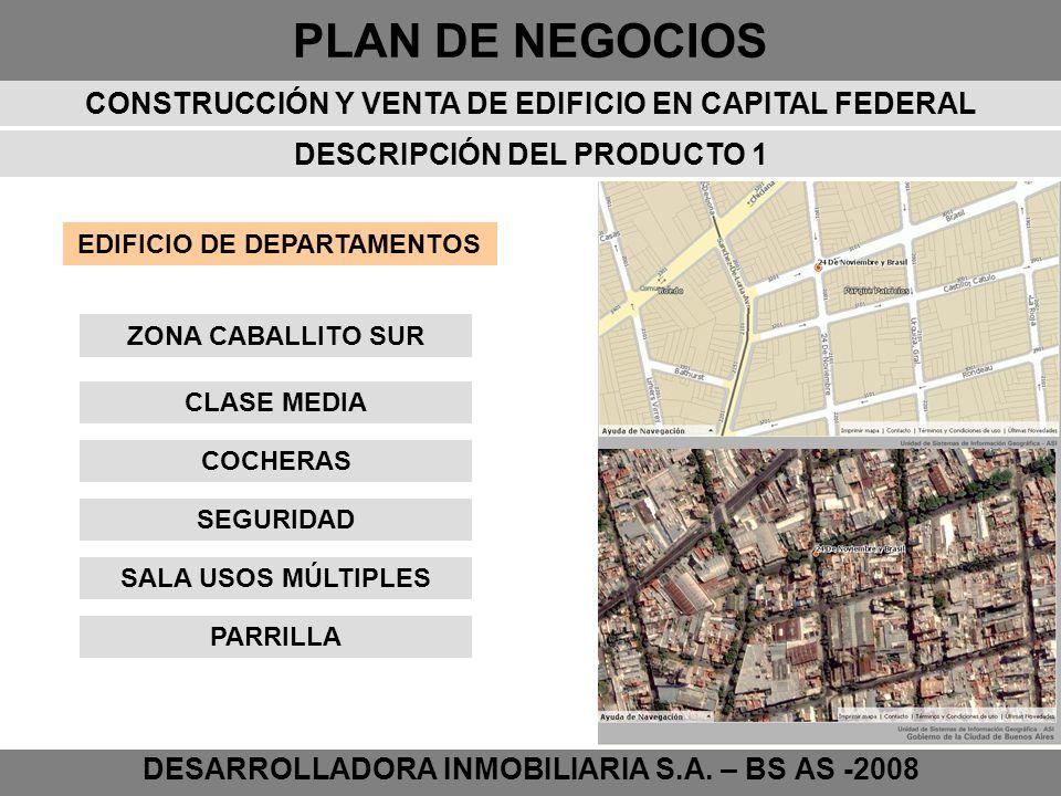 PLAN DE NEGOCIOS DESARROLLADORA INMOBILIARIA S.A. – BS AS -2008 DESCRIPCIÓN DEL PRODUCTO 1 EDIFICIO DE DEPARTAMENTOS CLASE MEDIA COCHERAS SEGURIDAD SA
