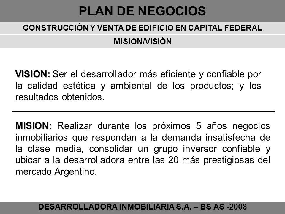 PLAN DE NEGOCIOS DESARROLLADORA INMOBILIARIA S.A. – BS AS -2008 MISION/VISIÓN VISION: VISION: Ser el desarrollador más eficiente y confiable por la ca