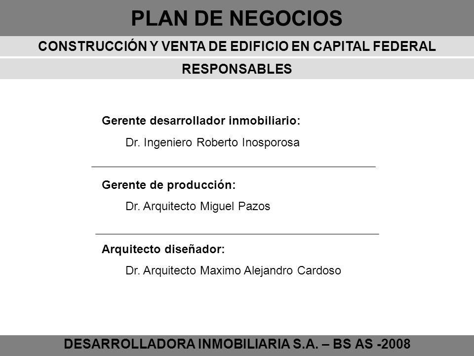 PLAN DE NEGOCIOS DESARROLLADORA INMOBILIARIA S.A. – BS AS -2008 Gerente desarrollador inmobiliario: Dr. Ingeniero Roberto Inosporosa Gerente de produc